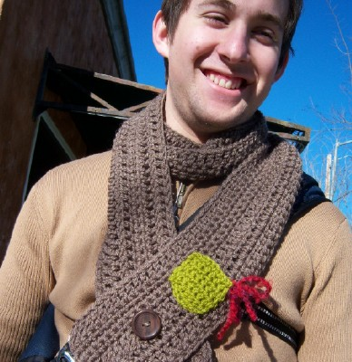 Cole in taupe man scarf