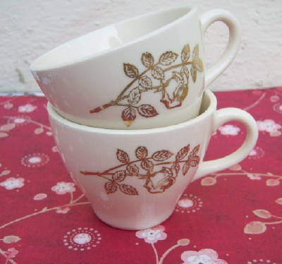 Gold Rose Tea Cups
