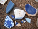 Blue shards: more rare than green or glass, a treasured find.